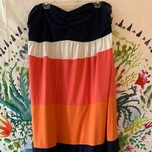 Torrid strapless maxi dress, soft smocking @ back